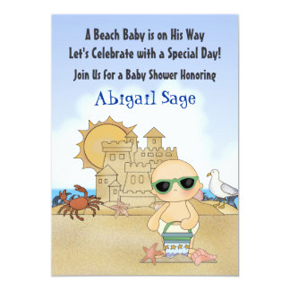 Cool Beach Baby Shower Invitation for Boys