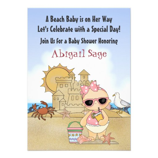 Cool Beach Baby Shower Invitation for Girls