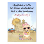 "Cool Beach Baby Shower Invitation for Girls 4.5"" X 6.25"" Invitation Card"