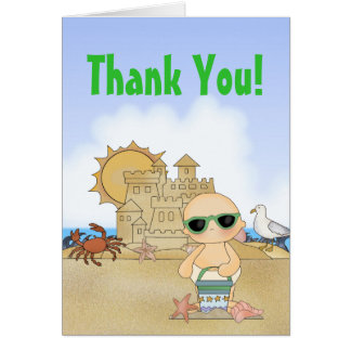 Cool Beach Baby Thank You Card ~ Neutral