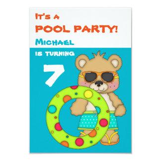 Cool Beach Bear Pool Birthday Party Card