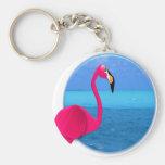Cool Beach Flamingo Keychain