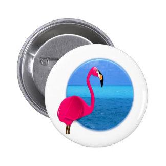 Cool Beach Flamingo Pinback Button