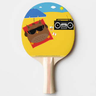 Cool Beach Owl Design - Ping Pong Paddle