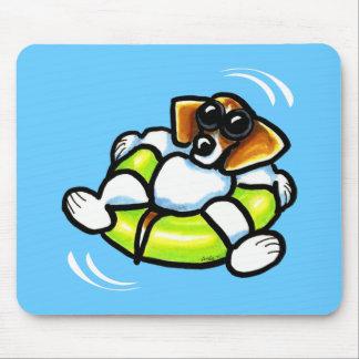 Cool Beagle Pool Float Off-Leash Art™ Mousepads
