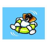 Cool Beagle Pool Float Off-Leash Art™ Postcard