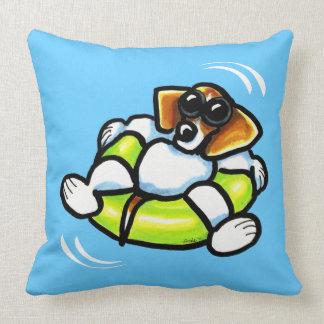 Cool Beagle Pool Float Off-Leash Art™ Throw Pillow
