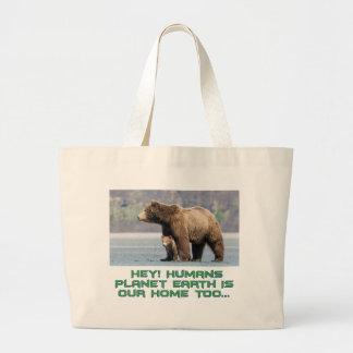 cool Bear designs Large Tote Bag