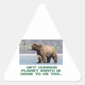 cool Bear designs Triangle Sticker