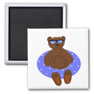 Cool Bear In Shades 2 Inch Square Magnet