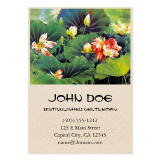 Cool beautiful chinese lotus flower green leaf art business cards