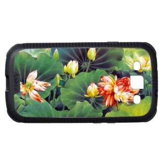 Cool beautiful chinese lotus flower green leaf art galaxy s3 cases