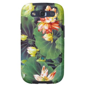 Cool beautiful chinese lotus flower green leaf art galaxy SIII case