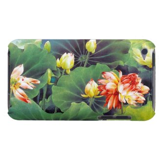 Cool beautiful chinese lotus flower green leaf art iPod Case-Mate case