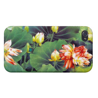 Cool beautiful chinese lotus flower green leaf art case for iPhone 4