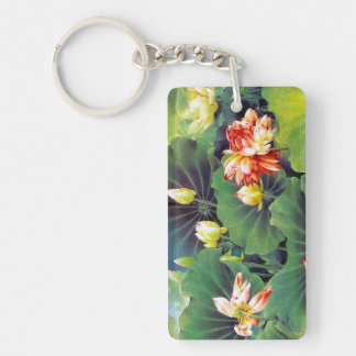 Cool beautiful chinese lotus flower green leaf art keychain