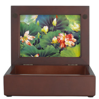 Cool beautiful chinese lotus flower green leaf art memory boxes