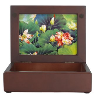 Cool beautiful chinese lotus flower green leaf art keepsake boxes