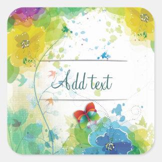 Cool beautiful trendy flowers splatters butterfly square sticker