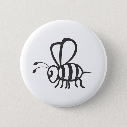 Cool Bee Black Outline Logo Tattoo Shirt Button
