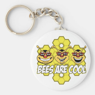 Cool Bees Basic Round Button Keychain