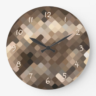 Cool Beige Brown Abstract Rounded Squares Pattern Large Clock