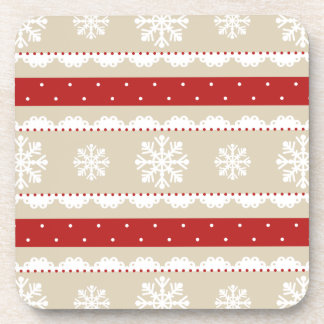 Cool Beige Red White Christmas Pattern Drink Coaster