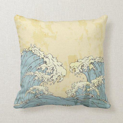 Big Blue Throw Pillows : Cool big blue ocean waves image pillow Zazzle