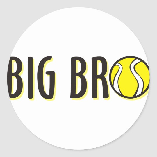Cool Big Bro Brother Shirt - Tennis Theme Classic Round Sticker