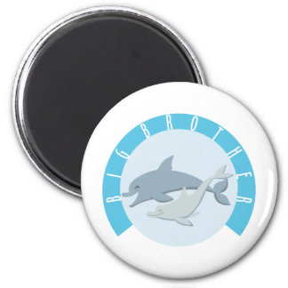 Cool Big Brother Shirt - Dolphin Theme Refrigerator Magnets
