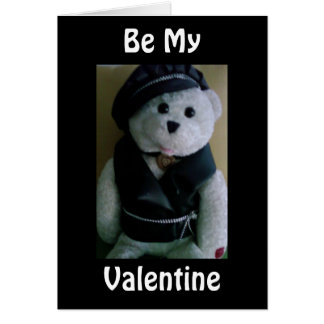 """COOL BIKER BEAR"" SAYS ""BE MY VALENTINE"" CARD"