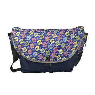 cool bikes checkered pattern messenger bag
