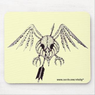 Cool bird skull graphic art mousepad design