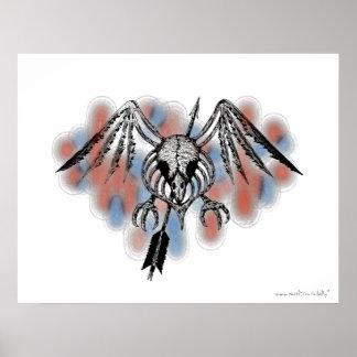 Cool bird skull urban graphic art poster design
