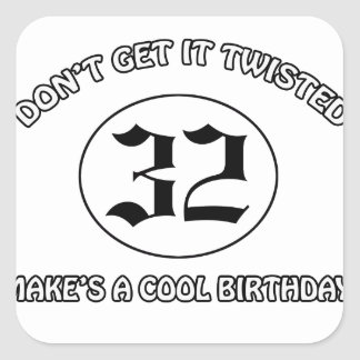 cool birthday design square sticker