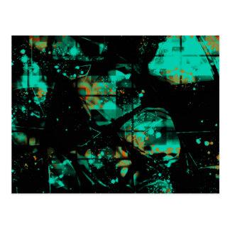 Cool Black and Aqua Abstract Pattern Postcard
