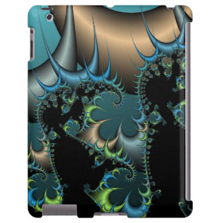 Cool Black and Blue Fractal iPad Case
