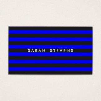 Cool Black and Cobalt Blue Striped Modern Salon Business Card