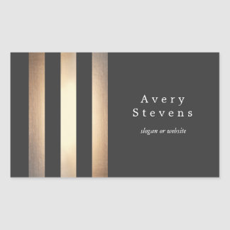 Cool Black and Gold Striped Modern *Faux Foil Rectangular Sticker