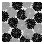 Cool Black and Gray Flower Blossoms Floral Print