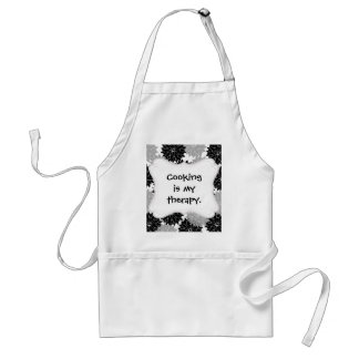 Cool Black and Gray Flower Blossoms Floral Print Adult Apron