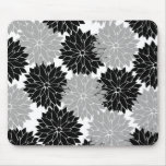 Cool Black and Gray Flower Blossoms Floral Print Mouse Pads