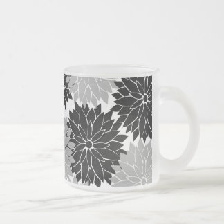 Cool Black and Gray Flower Blossoms Floral Print Mugs