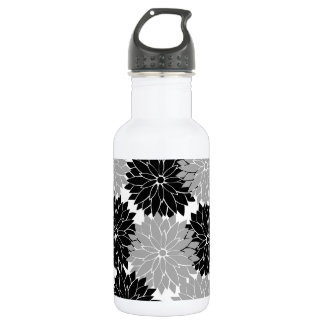 Cool Black and Gray Flower Blossoms Floral Print 18oz Water Bottle