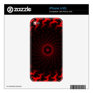 Cool Black and Red Fractal Burst iPhone 4S Decals