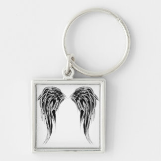 Cool Black and White Angel Wings Keychain