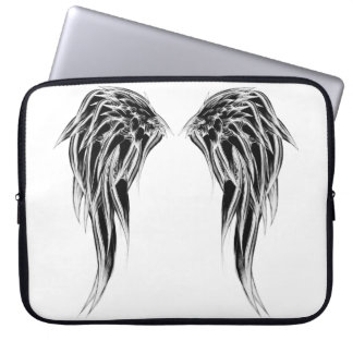 Cool Black and White Angel Wings Laptop Sleeve