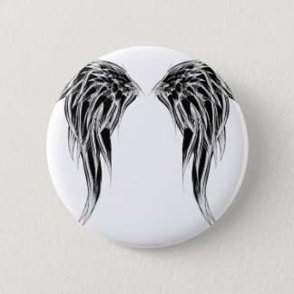Cool Black and White Angel Wings Pinback Button