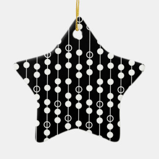 Cool Black and White Circles, Dots, Stripes Double-Sided Star Ceramic Christmas Ornament