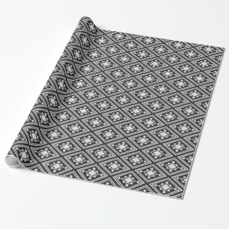 Cool black and white diamond shape ikat pattern wrapping paper